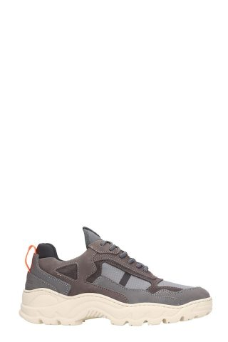 Filling Pieces Filling Pieces Low Curve Iceman Trimix Grey Leather And Suede Sneakers (grijs)