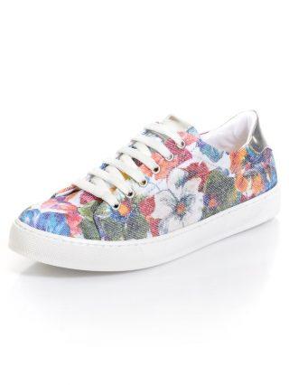 Sneaker met bloemendessin Alba Moda wit/multicolor