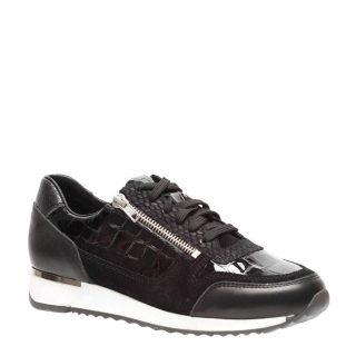 Manfield leren sneakers (zwart)