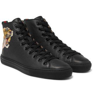 Gucci Major Appliquéd Full-grain Leather High-top Sneakers – Black