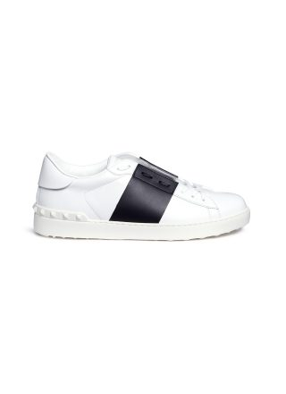Valentino 'Rockstud' colourblock leather sneakers (wit)