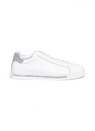René Caovilla Strass trim leather sneakers (wit)