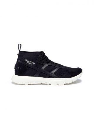 Valentino 'Sound High' patchwork sneakers (zwart)