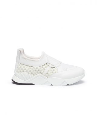 Robert Clergerie 'Salvy' woven straw panel leather sneakers (wit)
