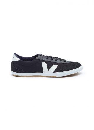 Veja 'Volley' suede panel organic canvas sneakers (zwart)