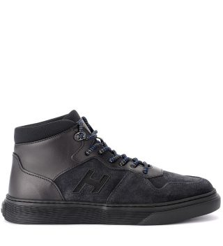 Hogan Hogan H365 Basket Black Leather And Suede Sneaker (zwart)