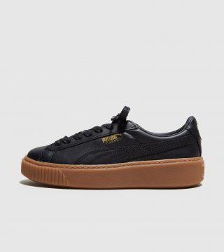 PUMA Basket Platform Leather-damesschoen (zwart)