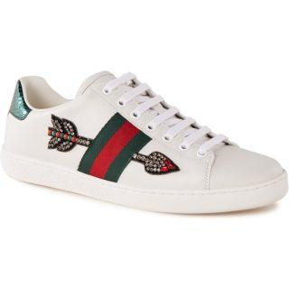 Gucci Ace Arrow sneaker van leer met strass