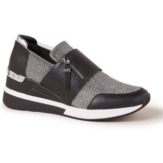 Michael Kors Chelsie sneakerwedge met leren details en glitter