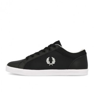 Fred Perry Baseline Poly Leather Black