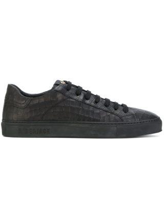 Hide&Jack crocodile embossed low top sneakers (zwart)