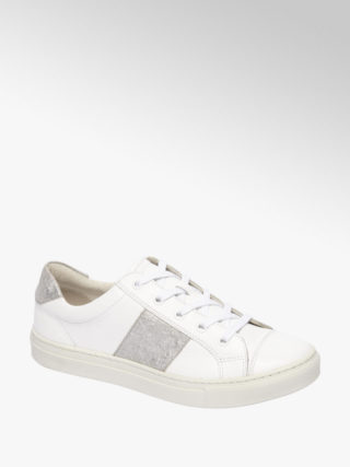 5th avenue Witte leren sneaker metallic