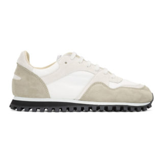 Spalwart White and Taupe Suede Marathon Trail Low WB Sneakers