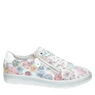 Remonte leren sneakers met bloemenprint (dames) (wit)
