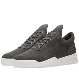 Filling Pieces Low Top Ghost Waxed Suede Sneaker (Grey)