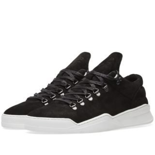 Filling Pieces Mountain Cut Ghost Waxed Suede Sneaker (Black)