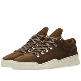Filling Pieces Mountain Cut Ghost Waxed Suede Sneaker (Green)