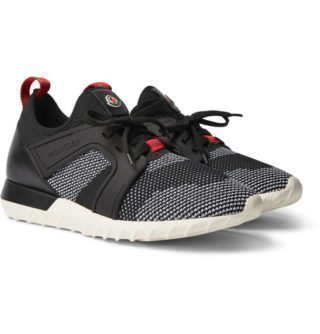 Moncler Emilien Leather And Rubber-trimmed Mesh Sneakers – Black