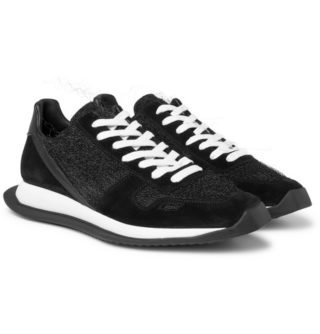 Rick Owens Leather, Suede And Mesh Sneakers – Black