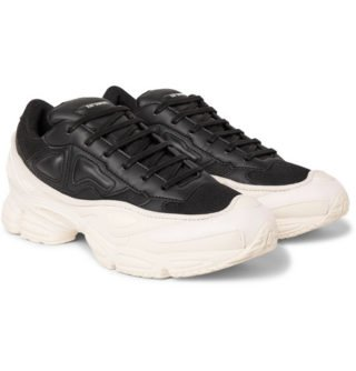 Raf Simons + Adidas Originals Ozweego Mesh And Leather Sneakers – Black