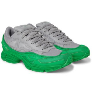 Raf Simons + Adidas Originals Ozweego Mesh And Leather Sneakers – Gray