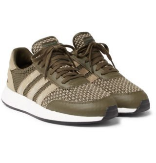adidas Consortium + Neighborhood I-5923 Suede And Leather-trimmed Stretch-knit Sneakers – Army green