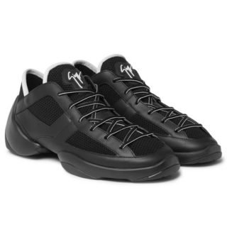 giuseppe zanotti Mesh And Leather Sneakers – Black