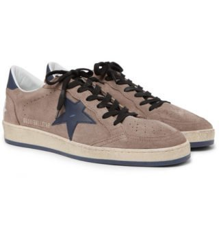 Golden Goose Deluxe Brand Ball Star Distressed Suede And Leather Sneakers – Brown