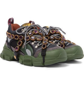 Gucci Flashtrek Embellished Suede, Leather And Mesh Sneakers – Green