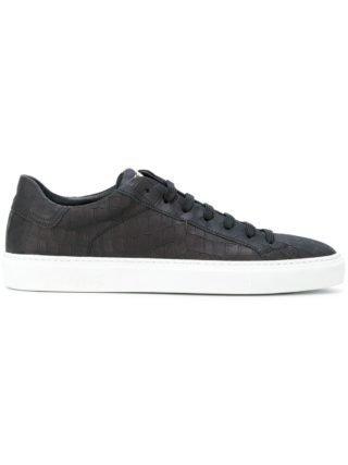 Hide&Jack textured lace-up sneakers (zwart)