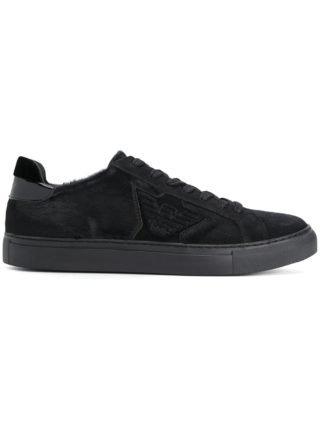 Emporio Armani fur logo sneakers (zwart)