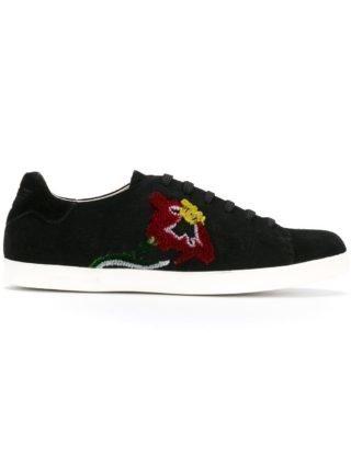 Emporio Armani flower embroidered sneakers (zwart)