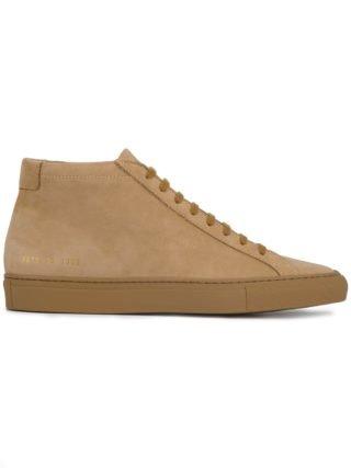 Common Projects Beige Original Achilles Nubuck Hi Top Sneakers - Nude & Neutrals