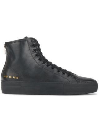 Common Projects black Tournament leather hi top sneakers