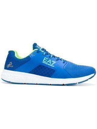 Ea7 Emporio Armani logo print mesh sneakers (blauw)