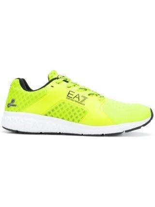 Ea7 Emporio Armani logo print mesh sneakers (geel/oranje)