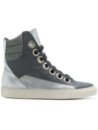 Raf Simons contrast patterned hi-top sneakers (grijs)