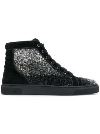 Louis Leeman embellished hi-top sneakers (zwart)