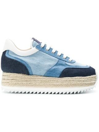 Le Silla denim espadrilles platform sneakers (blauw)