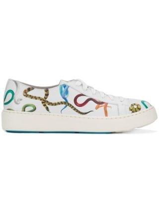 Santoni snake print lace-up sneakers (wit)