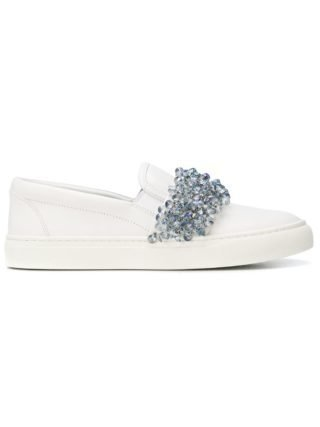 Tory Burch Logan embellished slip on sneakers (wit)