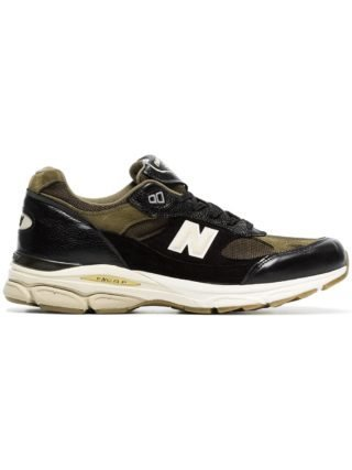 New Balance black and green M991.9 leather low-top sneakers