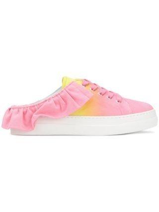 MSGM tie dye ruffle sneaker mules (roze/paars)