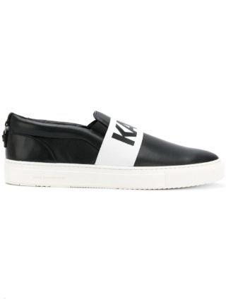 Karl Lagerfeld logo slip-on sneakers (zwart)