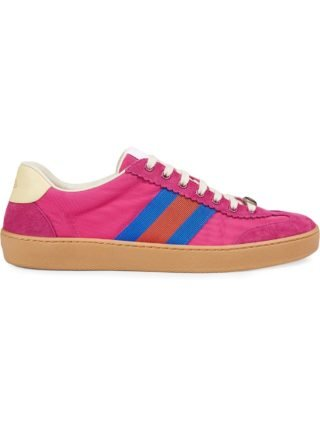 Gucci Nylon and suede Web sneaker - Pink & Purple