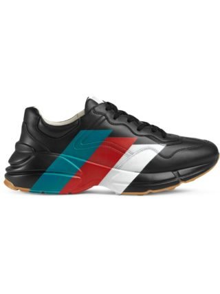 Gucci Rhyton Web print leather sneaker - Black