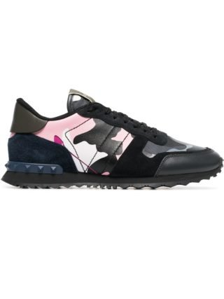 Valentino Black Rockstud Camouflage Print Leather Sneakers