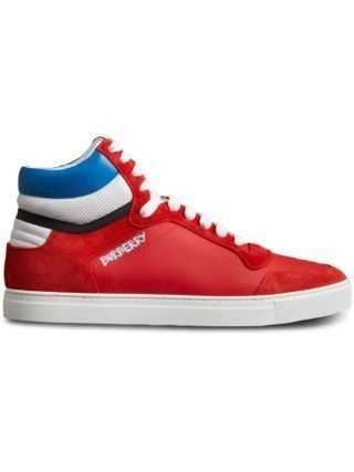 Burberry Leather and Suede High-top Sneakers (rood)