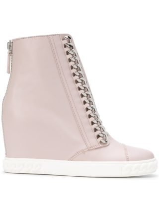 Casadei chain-trimmed wedge sneakers (roze/paars)