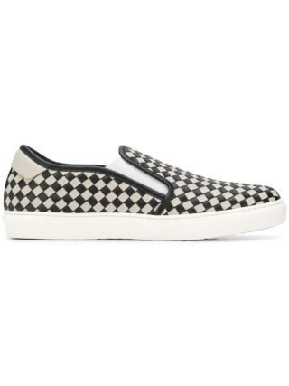 Bottega Veneta NERO/CEMENT CALF BV CHECKER SLIP-ON - White
